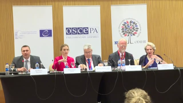 Audrey Glover head of the ODIHR election observation mission head of the PACE delegation Olena Sotnyk and head of the OSCE PA delegation Peter Osusky...