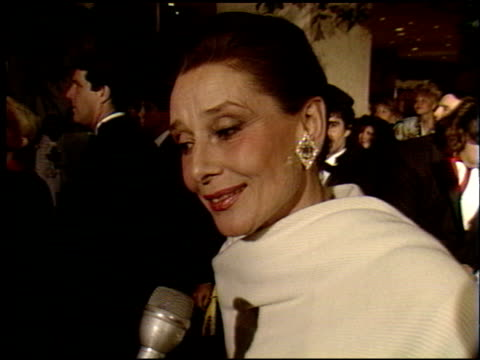 audrey hepburn at the 1990 golden globe awards at the beverly hilton in beverly hills, california on january 20, 1990. - 1990 stock videos & royalty-free footage