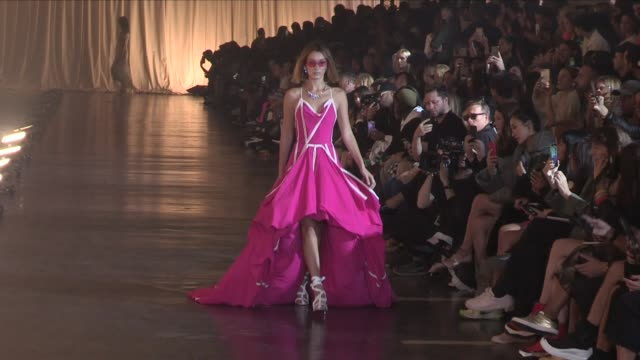 audrey marnay gigi hadid bella hadid grace elizabeth and more on the runway for the off white ready to wear spring summer 2020 fashion show in paris... - grace elizabeth stock videos & royalty-free footage