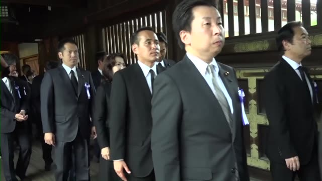 A crossparty group of lawmakers pay their respects at the warlinked Yasukuni Shrine in Tokyo on Aug 15 the 71st anniversary of Japan's surrender in...
