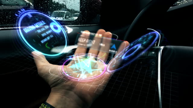 augmented reality road assistance - hologram stock-videos und b-roll-filmmaterial