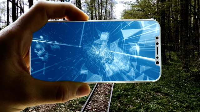 augmented reality. surreal world closed in a smart phone - realtà aumentata video stock e b–roll