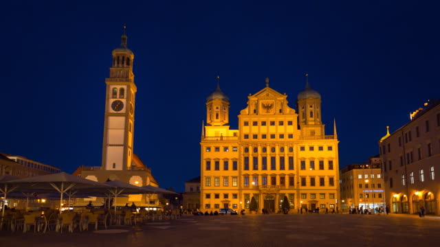 augsburg city hall and perlachturm tower at night - rathaus stock videos & royalty-free footage