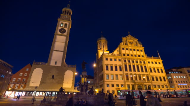 ms augsburg city hall at night - rathaus stock videos & royalty-free footage