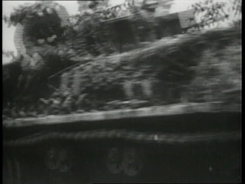 august 1 1944 montage troops riding on tank / mortain normandy france - kampfpanzer stock-videos und b-roll-filmmaterial