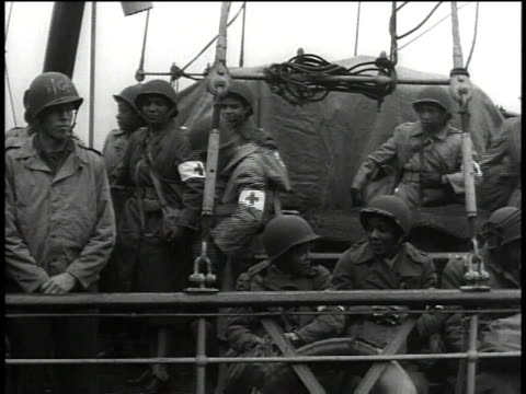 august 15 1944 pan nurses standing on deck of troop ship / united kingdom - red cross stock videos & royalty-free footage