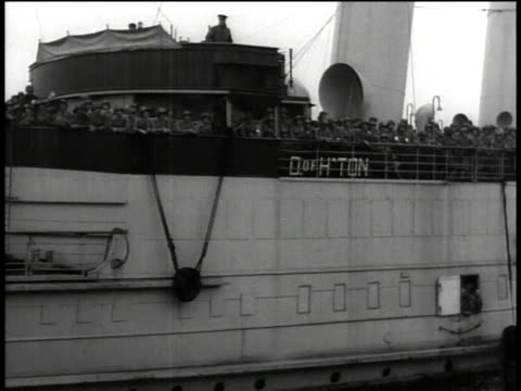 August 15 1944 PAN troop ship pulling away from dock / United Kingdom