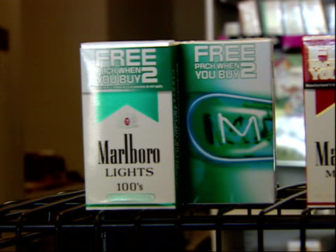 august 16, 2006 display of cigarette packs on shelf / united states - sachet stock videos & royalty-free footage