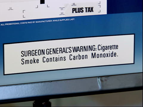 august 16, 2006 label saying surgeon general's warning: cigarette smoke contains carbon monoxide / united states - carbon monoxide stock videos & royalty-free footage
