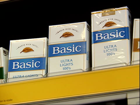 august 16, 2006 montage cigarettes in packages and cartons on shelf / united states - sachet stock videos & royalty-free footage