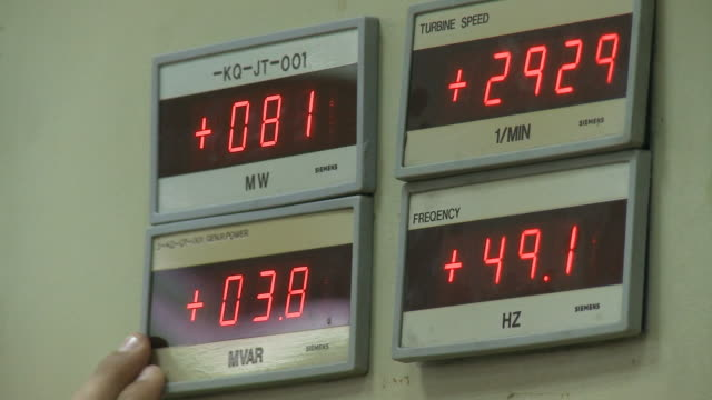 August 18 2010 LA Digital numeric displays of frequency speed and electricity in power plant control room / Baghdad Iraq