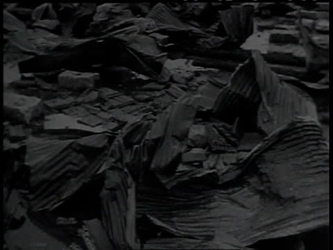august 1945 aerial view of some of the damage caused by the dropping of nuclear weapons in wwii / hiroshima and nagasaki, japan - chaos stock videos & royalty-free footage