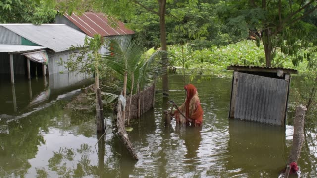 august 2020: a woman collects drinking water from a hand-pump tube well in the flood affected area in at manikganj outskirt of the capital in dhaka. - drinking water stock videos & royalty-free footage