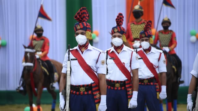 august 2020 indian paramilitary soldiers wearing mask participate in the parade for the 74th independence day celebrations amid the ongoing covid19... - indian politics stock videos & royalty-free footage