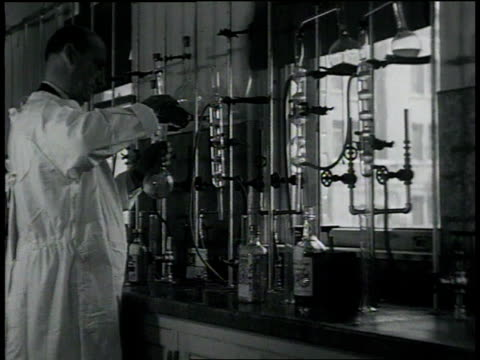 august 22 1932 montage chemist testing liquor in laboratory / san francisco california united states - 1932 stock-videos und b-roll-filmmaterial