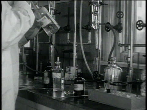 august 22, 1932 montage chemist testing liquor in laboratory / san francisco, california, united states - 1932 stock videos & royalty-free footage