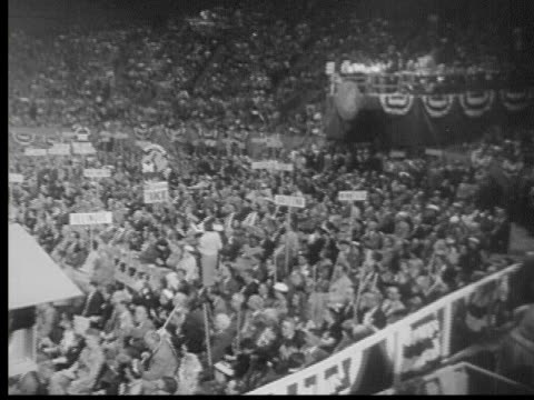 august 23, 1956 b/w montage republican national convention at cow palace, san francisco, california, usa, audio - us republican party stock videos & royalty-free footage