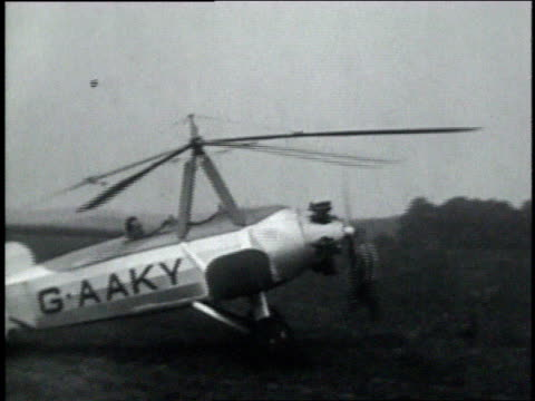 august 24, 1929 ts the autogiro g-aaky taxiing for take off / united states - aerospace stock videos & royalty-free footage