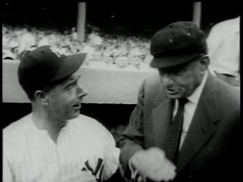 august 27, 1955 joe dimaggio and umpire al schacht talk in yankee dugout / new york city, new york, united states - 1955 stock-videos und b-roll-filmmaterial