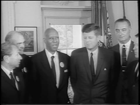 august 28, 1963 a. philip randolph + civil rights leaders with jfk + lbj after march on washington - ワシントン大行進点の映像素材/bロール
