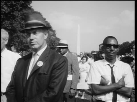 august 28, 1963 black + white men listening to king's speech at march on washington - 1963 stock videos & royalty-free footage