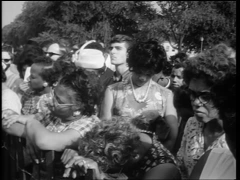 b/w august 28 1963 black women listening to martin luther king's speech at march on washington - 1963 stock videos & royalty-free footage