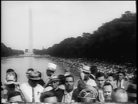 b/w august 28 1963 crowd by reflecting pool in mall at march on washington / newsreel - 1963 march on washington stock videos and b-roll footage