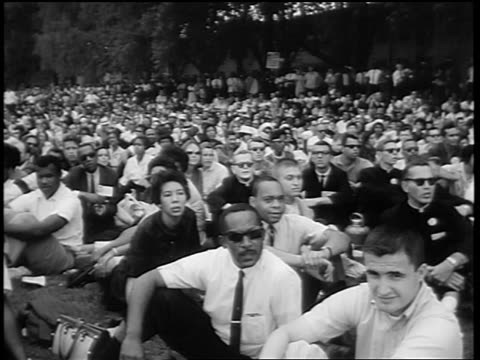 august 28, 1963 crowd sitting on lawn watching marian anderson sing on steps of lincoln memorial - 1963 stock videos & royalty-free footage