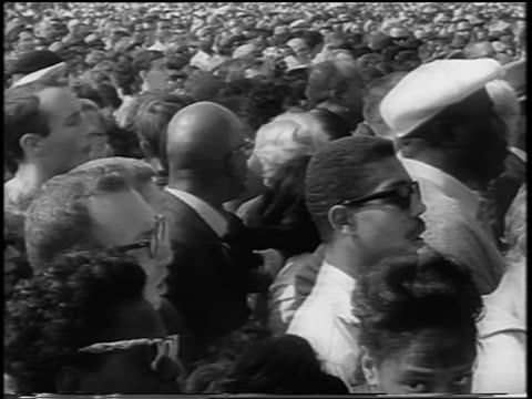 b/w august 28 1963 crowd watching speech at march on washington / newsreel - 1963 march on washington stock videos and b-roll footage