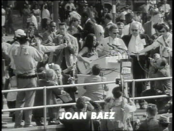 august 28, 1963 joan baez singing at the 1963 civil rights march / washington dc, united states - songwriter stock videos & royalty-free footage