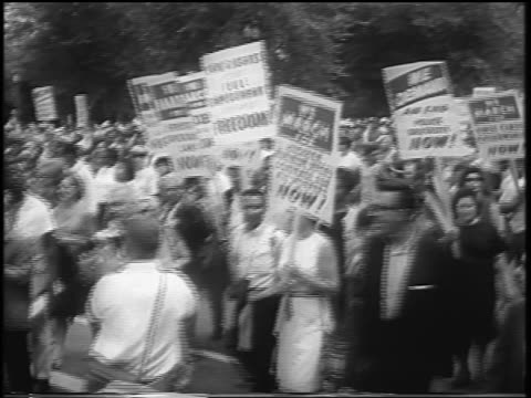 august 28, 1963 large crowd with signs marching on wide street / march on washington / newsreel - 1963 stock videos & royalty-free footage