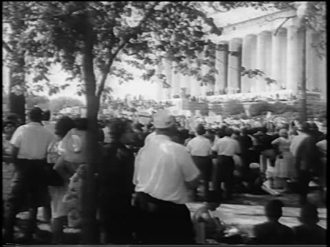 B/W August 28 1963 REAR VIEW crowd at March on Washington / Lincoln Memorial in background / newsreel