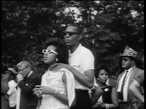 b/w august 28 1963 young black couple watching marian anderson sing at march on washington - 1963 march on washington stock videos and b-roll footage