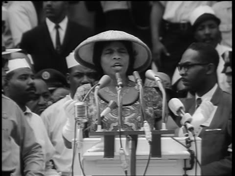august 28, 1963 zoom out marian anderson singing on steps of lincoln memorial at march on washington - authority stock videos & royalty-free footage