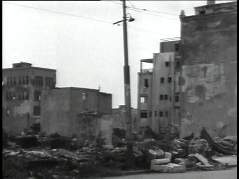 August 30 1945 WS City in ruins with empty and destroyed buildings / Tokyo Japan