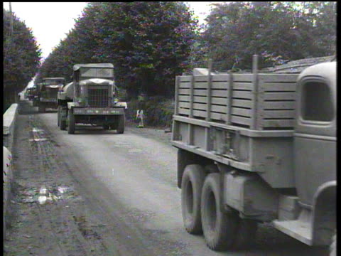 august 31, 1944 montage military convoy arriving at base / chartres, france - medium group of objects stock videos & royalty-free footage