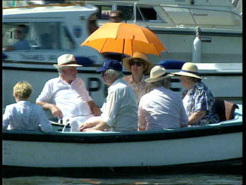 august record temperature r30069504 itn seq people enjoying sunshine on boats on river - august stock videos & royalty-free footage