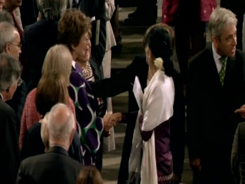 aung san suu kyi chats with maureen lipman before addressing parliament - maureen lipman stock videos and b-roll footage