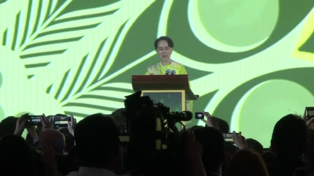 Aung San Suu Kyi State Counsellor of Myanmar gives a speech at the ASEAN Business Investment Summit 2017