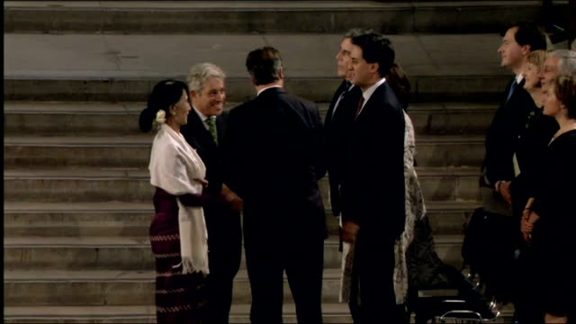 aung sang suu kyi addresses both houses of parliament and meets prince charles **music heard over following** aung sang suu kyi shaking hands with... - cherie charles stock videos & royalty-free footage