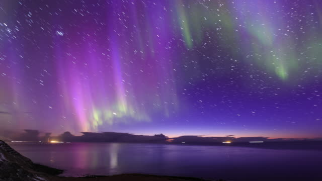 aurora and star trails - purple stock videos & royalty-free footage