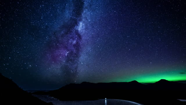 aurora at wineglass bay - atmosphere filter stock videos and b-roll footage