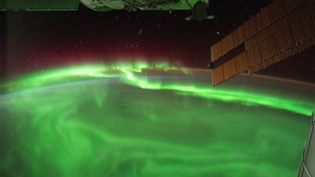 aurora australis from the iss - space exploration stock videos & royalty-free footage