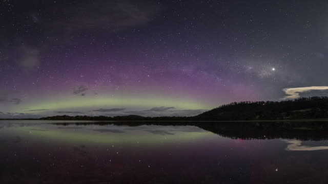 aurora australis or southern lights display going through various spectacular changes in formation, with vivid colours and huge beams. - aurora australis stock videos & royalty-free footage