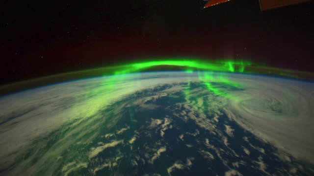 aurora australis over planet earth - light natural phenomenon stock videos & royalty-free footage