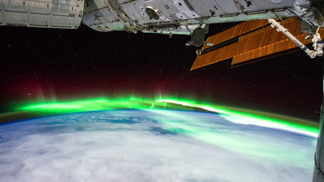 aurora australis seen from iss - timelapse - aurora australis stock videos & royalty-free footage