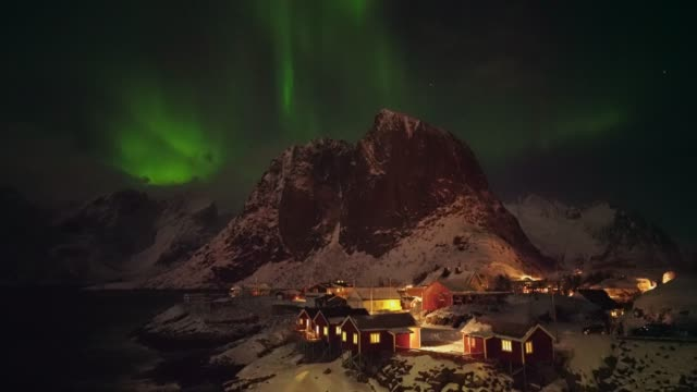 aurora borealis on lofoten islands in winter - northern europe stock videos & royalty-free footage
