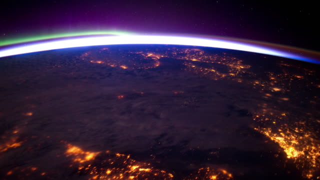 Aurora Borealis over European Lights