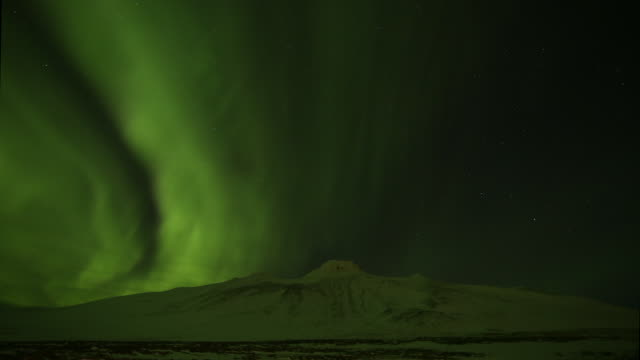 Aurora Borealis over mount Spákonufell.