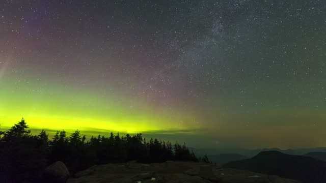 aurora from mount osceola - new england usa stock videos and b-roll footage
